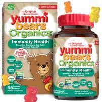 Yummi Bears Organics Immunity Health with Vitamin C, Zinc & Echinacea, Organic Gummy Vitamin for Kids, 45 Count (Pack of 1)
