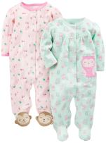 Simple Joys by Carter's Baby Girls' 2-Pack Cotton Snap Footed Sleep and Play