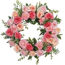 Valery Madelyn 24 Inch Spring Flower Wreath with Rose Flowers, Carnation and Green Leaves for Mother's Day, Wedding, Front Door, Wall and Home Decorations