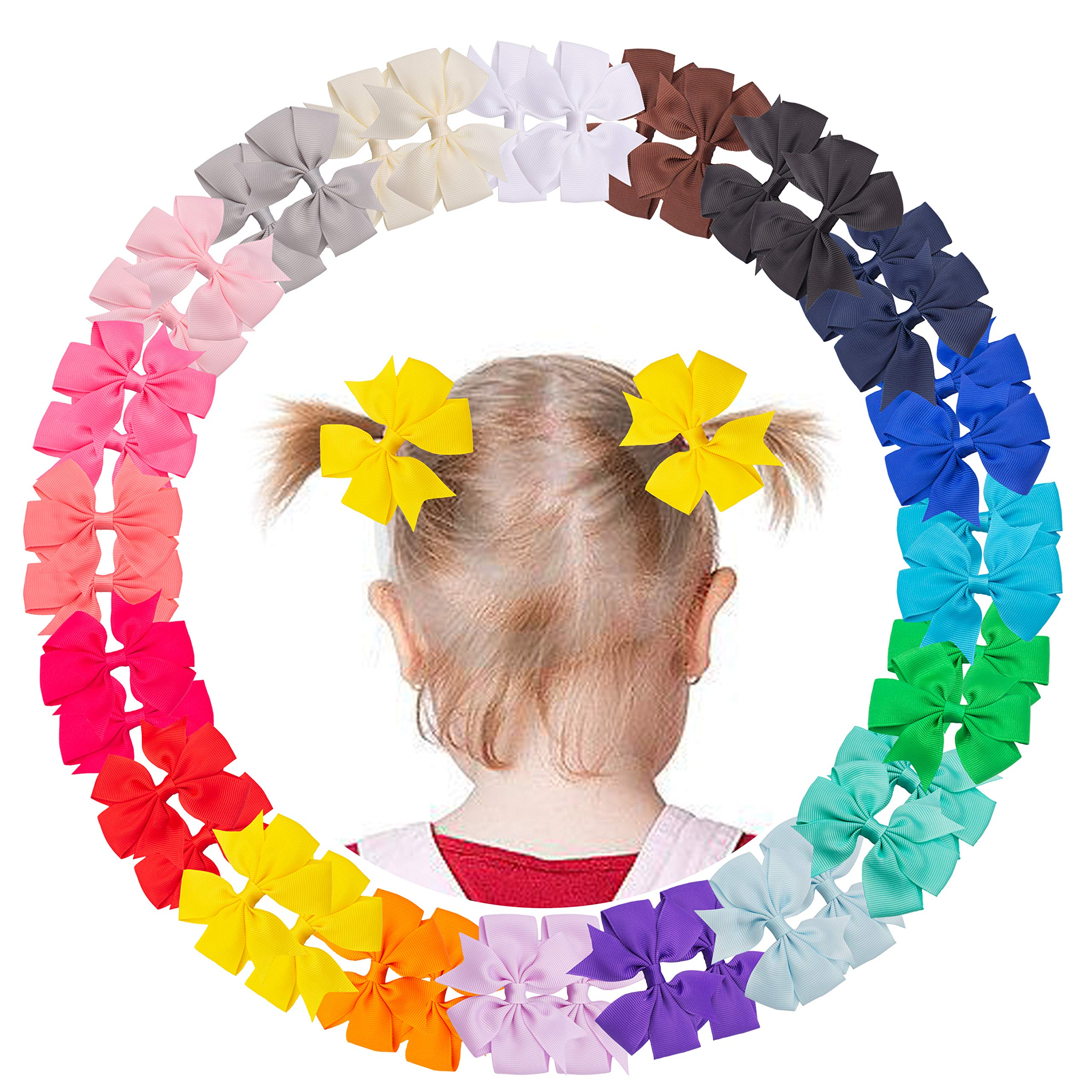 VINOBOW 40Piece 3Inch Pinwheel Hair Bows For Girls Hair Barrettes Hair Accessories Bow Sets For Toddler Girls Baby