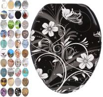 Sanilo Elongated Toilet Seat, Wide Choice of Slow Close Toilet Seats, Molded Wood, Strong Hinges (White Flower)
