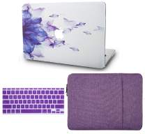 "KECC Laptop Case for MacBook Air 13"" w/Keyboard Cover + Sleeve Plastic Hard Shell Case A1466/A1369 3 in 1 Bundle (Purple Flower)"