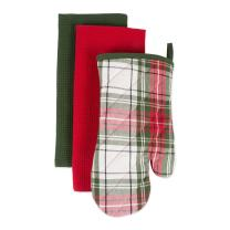 DII, Oven Mitt Dishtowel Set, Cabin Christmas, 3 Pieces, Red and Green