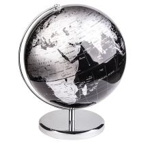 Exerz Metallic World Globe (Dia 12-Inch / 30cm) Black – Educational/Geographic/Modern Desktop Decoration - Stainless Steel Arc and Base/Earth World - Metallic Black - for School, Home, and Office