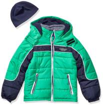 London Fog Boys' Big Color Blocked Puffer Jacket Coat with