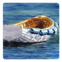 Dinghy Rowboat Wooden Coaster - Watercolor Art by Colleen Nash Becht