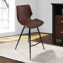 "Armen Living Zurich 30"" Bar Height Barstool in Vintage Coffee Faux Leather and Black Metal Finish"