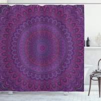 "Ambesonne Eggplant Shower Curtain, Purple Mandala Shape with a Kaleidescopic Style Sixties Inspired Oriental Abstract Art, Cloth Fabric Bathroom Decor Set with Hooks, 70"" Long, Purple"