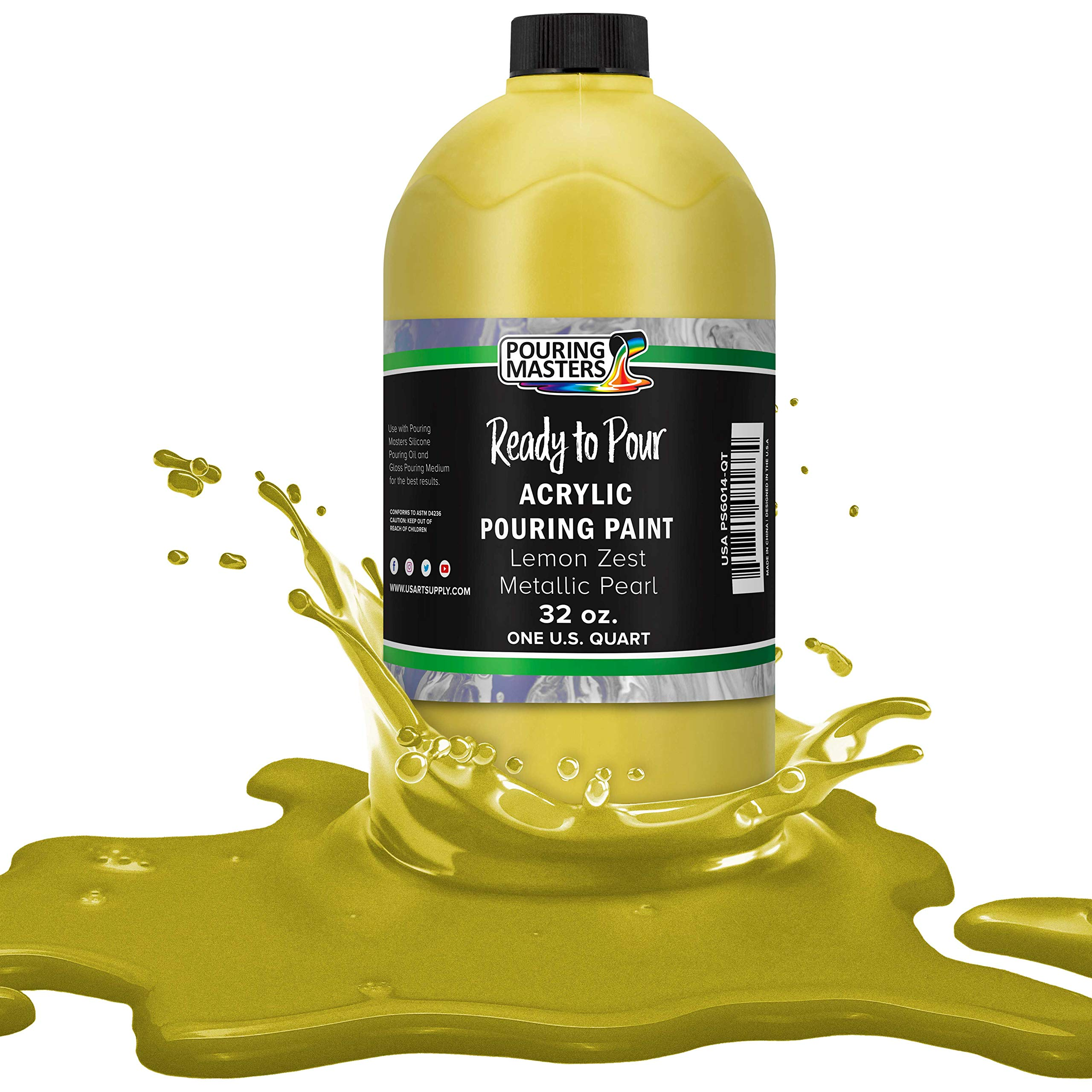 Pouring Masters Lemon Zest Metallic Pearl Acrylic Ready to Pour Pouring Paint – Premium 32-Ounce Pre-Mixed Water-Based - for Canvas, Wood, Paper, Crafts, Tile, Rocks and More