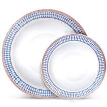 Laura Stein Designer Dinnerware Set | 64 Disposable Plastic Party Bowls | White Wedding Bowl with Blue Rim & Rose Gold Accents, Includes 32 x 12 oz Soup Bowls + 32 x 5 oz Dessert Bowls | Midnight Blue