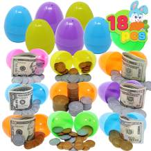 """18 PCs Prefilled Easter Eggs with Pretend Money Color Printed; 2 3/8"""" Eggs for all Kids Easter Theme Party Favors, Outdoor / Indoor Filled Easter Eggs Hunt Game, Party Supplies, Easter Basket Stuffers, Easter Reward Gifts."""