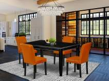 East West Furniture DUAB5-BLK-61 5Pc Rectangle 60 Inch Dining Table And Four Parson Chair With Black Leg And Pu Leather Color Baked Bean, 5