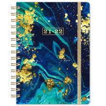 """2021-2022 Planner - 2021-2022 Weekly & Monthly Planner with Monthly Tabs, Jul 2021 - Jun 2022, 8.4"""" x 6.3"""", Flexible Hardcover, Strong Binding, Thick Paper, Back Pocket, Elastic Closure, Dark Blue"""