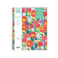 "Day Designer for Blue Sky 2020-2021 Academic Year Weekly & Monthly Planner, Flexible Cover, Twin-Wire Binding, 8.5"" x 11"", Floral Sketch"