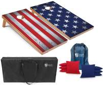 Tailgating Pros Stars and Stripes Cornhole Boards w/Bean Bags - 4'x2' Patriotic Corn Hole Game w/Carrying Case & Bags (Red/Royal Corn, 4'x2' Boards w/LED Ring Lights)