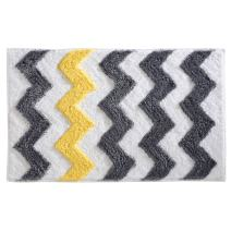 "iDesign Chevron Bath Rug, Machine Washable Microfiber Accent Rug for Bathroom, Kitchen, Bedroom, Office, Kid's Room, 34"" x 21"", Gray and Yellow"