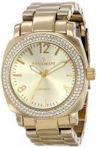 Peugeot Women's 7075RG Boyfriend Oversized Watch with Swarovski Crystal Bezel Metal Link Rose Gold Watch Bracelet