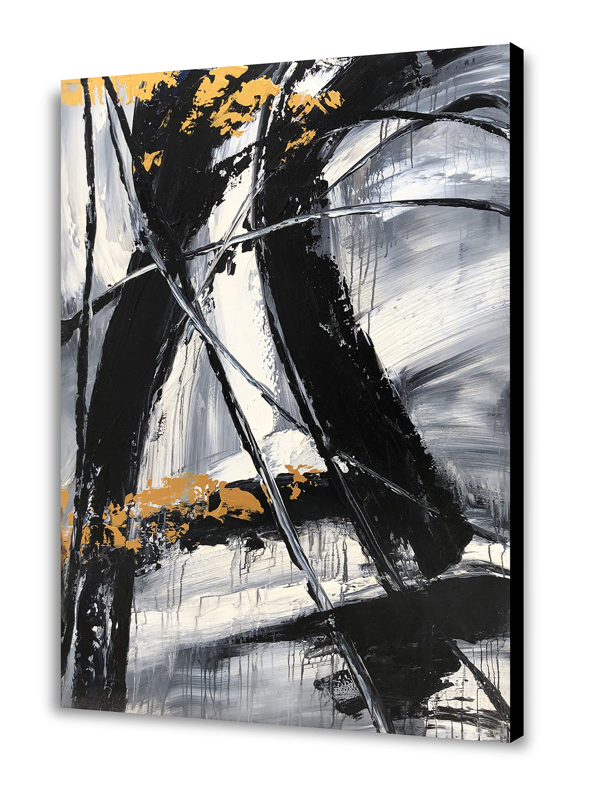 Yihui Arts Easy Painting Black and White Abstract Contemporary Painting Large Wall Art Canvas Pictures Modern Japanese Office Decor (36x48IN)