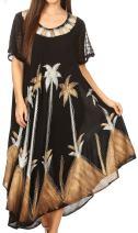 Sakkas 116 Watercolor Palm Tree Tank Caftan Dress - Brown/Silver/One Size