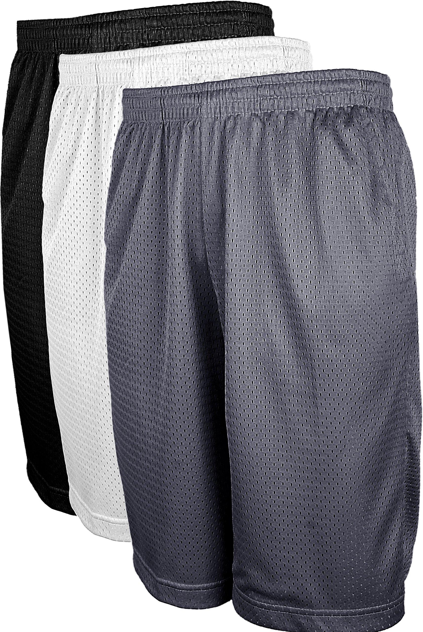 OLLIE ARNES Mesh Basketball Shorts for Men, Athletic Gym Workout Short with Pockets (S-6X) SET3_BLK_WHT_DKGREY 3XL