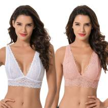 Curve Muse Plunge Bralette with Floral Lace-2pack