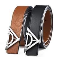 Designer Belts for Men, Black & Brown Fashion Reversible Leather Belt, Full Grain, for Dress and Jeans, Gift Box
