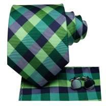 Hi-Tie Mens Plaid Necktie with Handkerchief Cufflinks Set