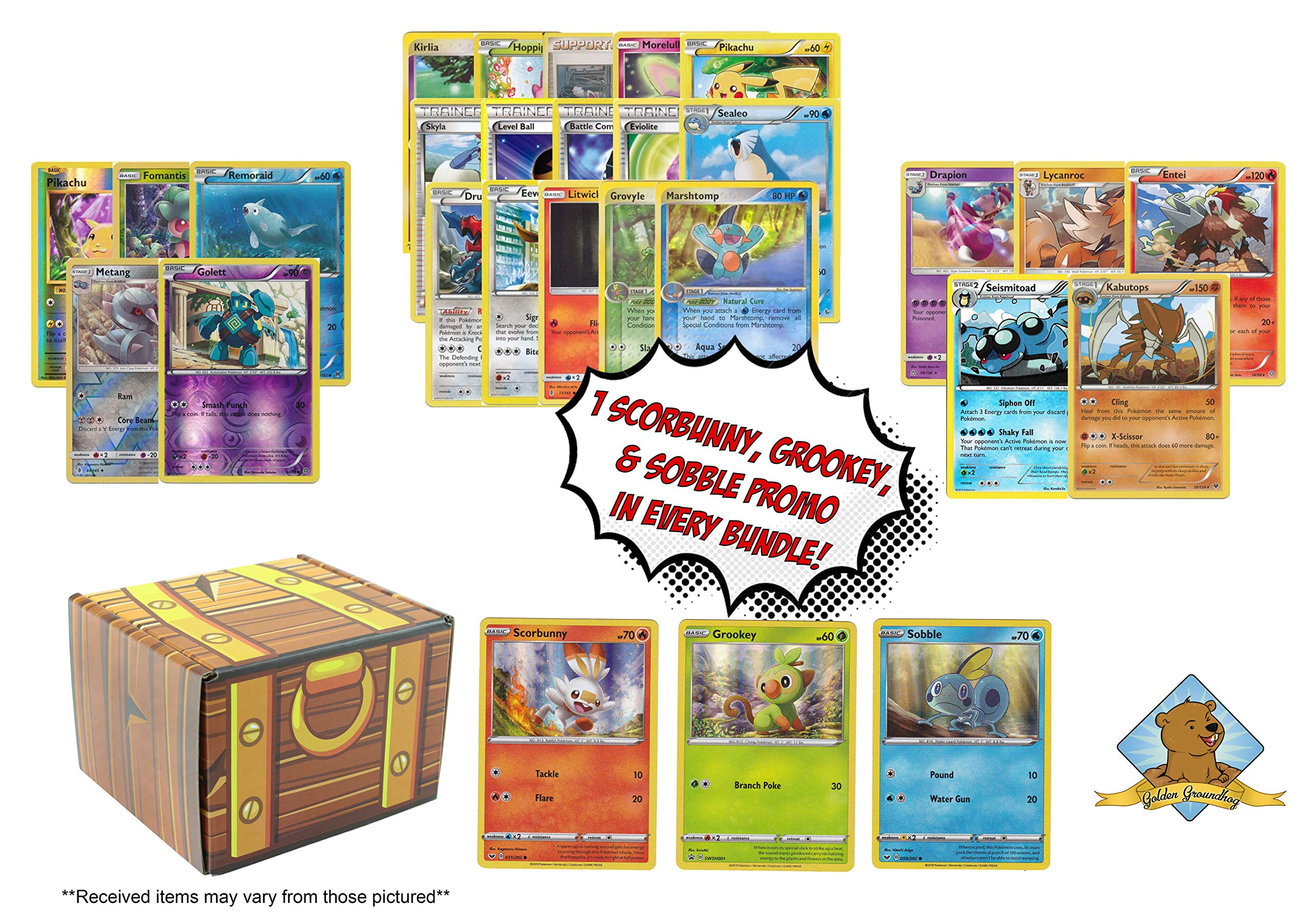 Pokemon 100 Card Lot Bonus Sword Shield Starter Pokemon Grookey Scorbunny Sobble Promo Cards Foils Rares Includes Golden Groundhog Treasure Box Choose from contactless same day delivery, drive up and more. yoybuy
