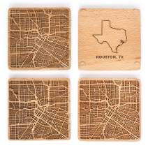Greenline Goods Beech Wood Coasters Etched Wooden Coaster Set for Houston Lovers | Set of 4 | Etched with Houston Map and State of Texas | 2 Sided | Includes Protective Silicone Furniture Pads