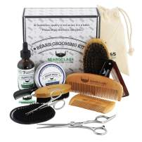 BEARDCLASS Beard Grooming Kit Set for Men (12 in 1) - 100% Bamboo Boar Brush and Wooden Comb, Organic 2 Oz. Beard Mustache Oil and Balm Wax with Palm Diffuser, Scissors and Gift Box