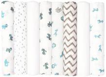 Babykin Organic Cotton Muslin Swaddle Blankets, Blue Animals, 8 Piece Pack