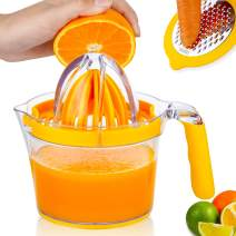 Lemon Squeezer,Orange Juicer,Multifunctional Lemon Juicer with Built-in Measuring Cup and Grater Egg separator,Non-Slip Silicone Handle,YTDHLIH Upgrade Citrus Juicer 20OZ
