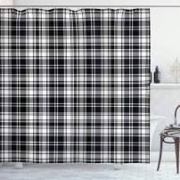 "Ambesonne Abstract Shower Curtain, British Tartan Celtic Pattern with Vertical Horizontal Symmetric Stripes Image, Cloth Fabric Bathroom Decor Set with Hooks, 70"" Long, White Black"
