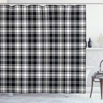 """Ambesonne Abstract Shower Curtain, British Tartan Celtic Pattern with Vertical Horizontal Symmetric Stripes Image, Cloth Fabric Bathroom Decor Set with Hooks, 75"""" Long, White Black"""