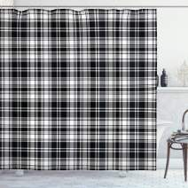 """Ambesonne Abstract Shower Curtain, British Tartan Celtic Pattern with Vertical Horizontal Symmetric Stripes Image, Cloth Fabric Bathroom Decor Set with Hooks, 70"""" Long, White Black"""