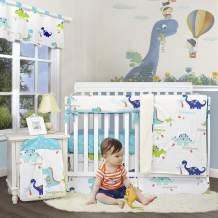 Brandream Crib Bedding Sets for Boys Dinosaur Nursery Bedding with Crib Rail Cover, 6 Piece Cotton Cradle Set for Newborn/Infant Modern Dinosaur Collection, Baby Shower Gift