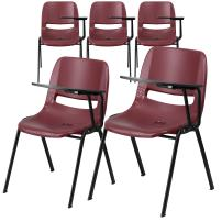 Flash Furniture 5 Pk. Burgundy Ergonomic Shell Chair with Left Handed Flip-Up Tablet Arm
