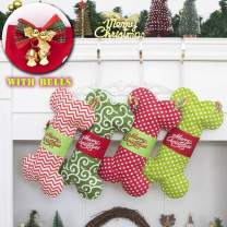 GEX Dog Bone Christmas Stockings for Doggie Cotton Pet Stockings with Bells Christmas Ornaments Holidays Decoration Gift-16 inches x 8 inches 1# Red Chevron (1 Pack)