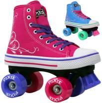Lenexa Roller Skates for Girls Pixie Kid's Quad Roller Skates with High Top Shoe Style for Indoor/Outdoor Skating | Durable, Easy to Skate, Made for Kids