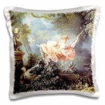 3dRose The Swing Jean-Honore Fragonard famous painting reproduction - L Escarpolette 1767 - girl swinging - Pillow Case, 16 by 16-inch (pc_157627_1)