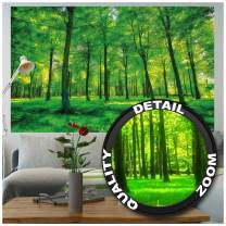 GREAT ART Poster – Summer Trees – Picture Decoration Nature Landscape Forest Glade Sunbeams Plants Flora Ferns Relaxation Sapling Spa Image Photo Decor Wall Mural (55x39.4in - 140x100cm)