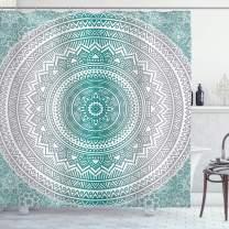"Ambesonne Grey and Teal Shower Curtain, Mandala Ombre Design Space Geometric Center Point Boho Meditation Art, Cloth Fabric Bathroom Decor Set with Hooks, 70"" Long, Grey Teal"