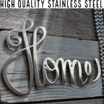 """Way Of Hearts Metal Home Sign – Wall Decor - Farmhouse Decorations – Rustic Wall Decor – Living Room Decor - Welcome Home Banner - Home Decor Metal Wall Decor : Silver, 10"""" x 6.1"""""""