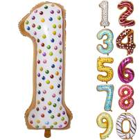 36 Inch Donuts Large Numbers Balloon Birthday Party Decorations Helium Foil Mylar Big Number Digital 1