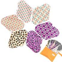 7pcs Set 1 pc Bonus Free Mini Wet Bag +6pcs Absorbent Reusable Sanitary Pads/Washable Bamboo Cloth Menstrual Pads (L,Geometry)