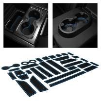 CupHolderHero for Chevy Silverado 1500 and GMC Sierra Accessories 2014-2018 Interior Cup Holder Inserts, Center Console Liner Mats, Door Pocket 31-pc Set (Crew Cab with Bucket Seats) (Blue Trim)