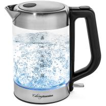 Glass Electric Kettle | BPA Free with Borosilicate Glass & Stainless Steel - 1.8 Liter Rapid Boil Cordless Teapot with Automatic Shut Off - the Best Hot Water Heater for Tea, Coffee, Soup, and More!