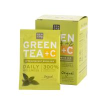 Sencha Naturals, Green Tea +C, Original, Box of 10 Packets | Effervescent Drink Powder Mix with Organic Matcha Green Tea, Antioxidant Vitamin C, Orange Peel, Turmeric, Ginger, Acerola Cherry.