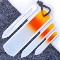 Genuine Czech Glass Nail File Set - Double Sided Etched Different Grit Surface, Callus Remover Foot Rasp, Precision Filing Cuticle Pusher, Manicure & Pedicure, Professional Nail Care & Art, EU Quality