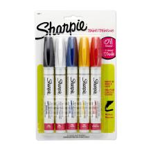 Sharpie Oil Based Paint Markers, Medium Point, Assorted Classic Colors, Set of 5 - 34971PP